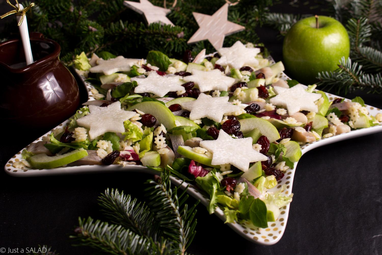 Świąteczna sałatka ze śledziem, makaronem, białą rzepą, żurawiną i sosem z dodatkiem cynamonu.