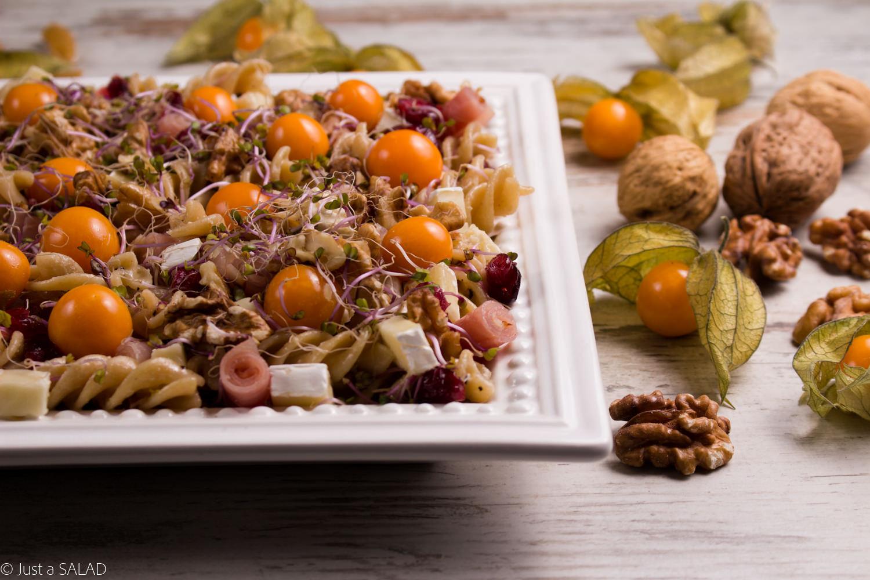 Sałatka z makaronem razowym, szynką dojrzewającą, camembertem, miechunką, orzechami i kiełkami jarmużu.