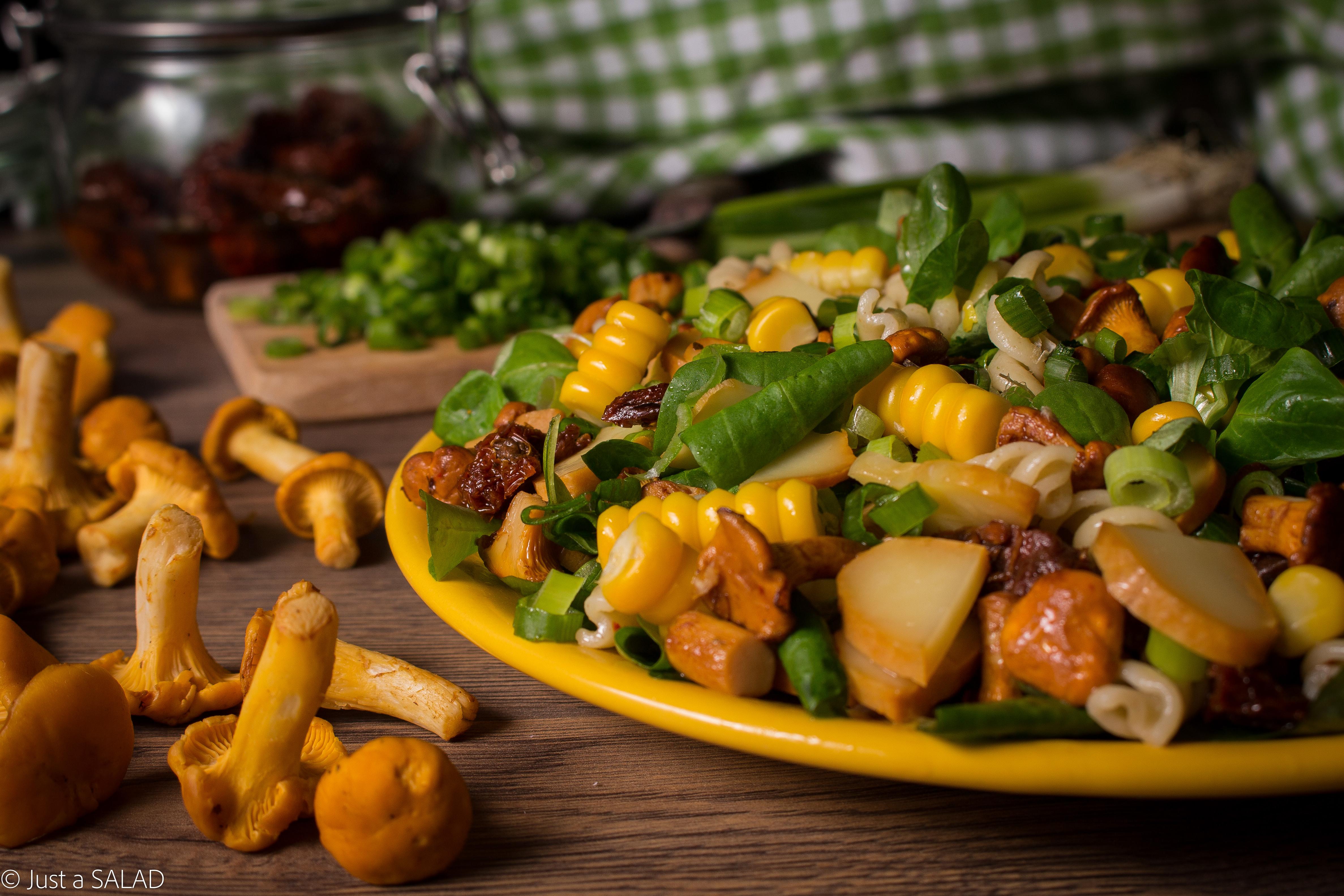 Sałatka z kurkami, suszonymi pomidorami, oscypkiem, makaronem, roszponką i szczypiorkiem.