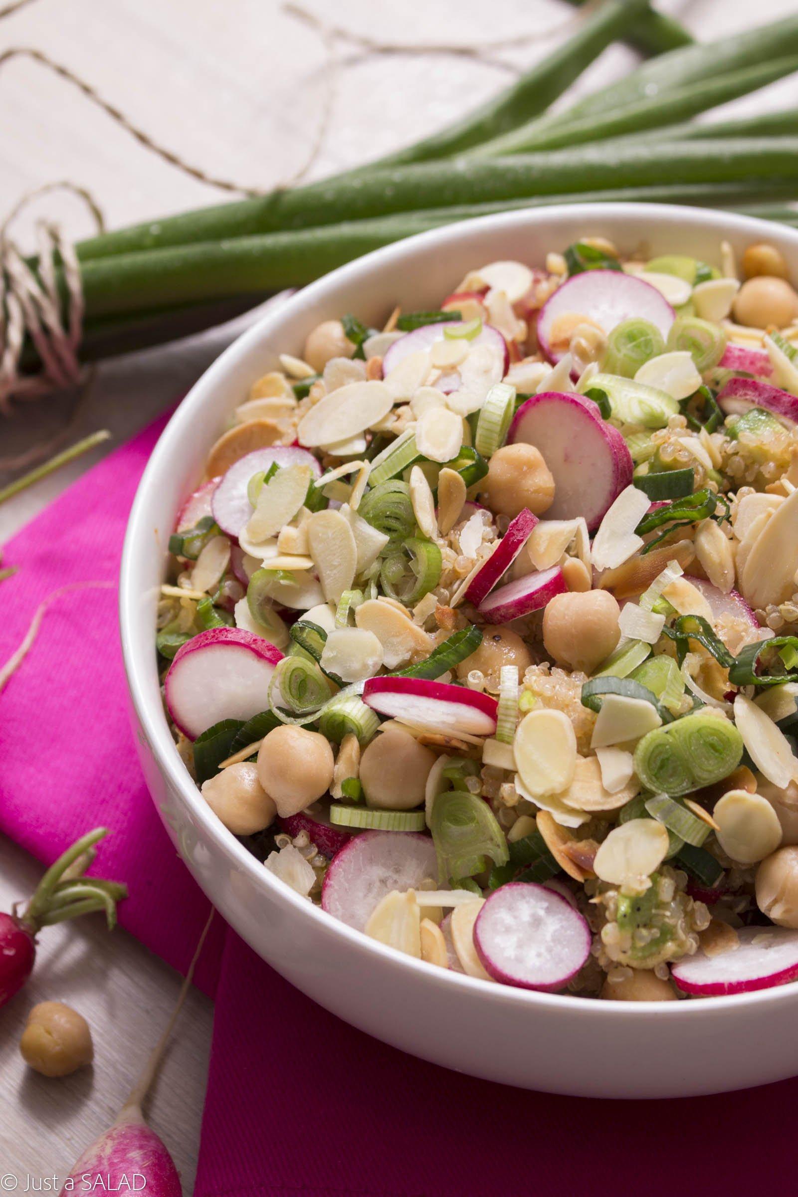 Sałatka z rzodkiewką, komosą ryżową, awokado, ciecierzycą, szczypiorkiem , quinoa