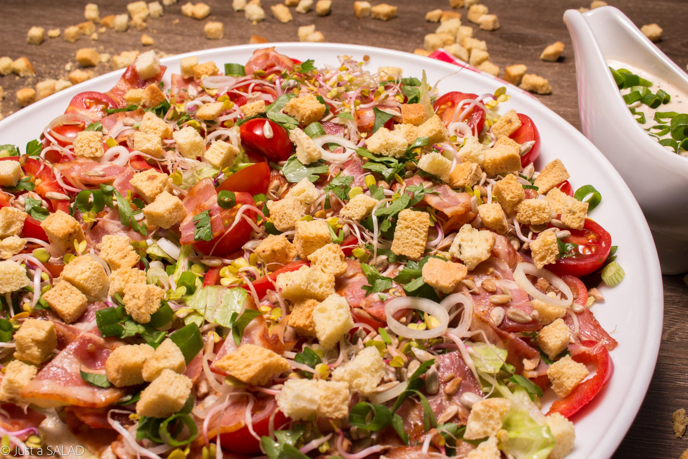 Sałatka z grillowanym boczkiem, pomidorami, papryką, kiełkami rzodkiewki, natką, szczypiorkiem i sosem z niebieskim serem.