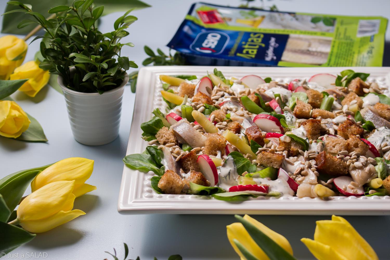 Sałatka wiosenna ze śledziem, rzodkiewką, fasolką szparagową, grzankami, pestkami słonecznika i sałatą.
