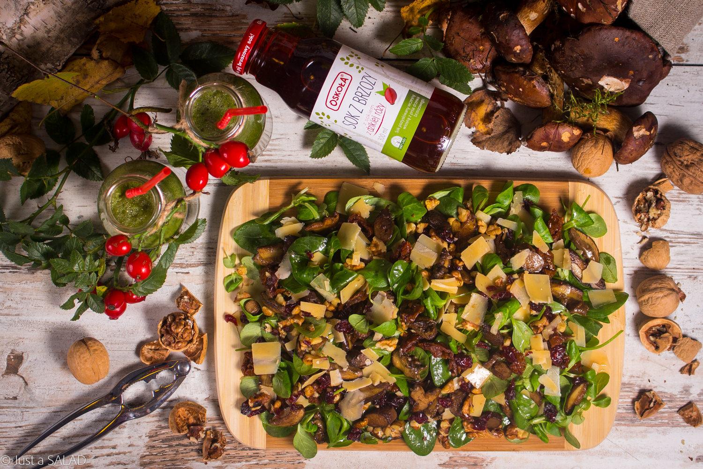 JESIEŃ W BRZEZINIE. Sałatka z roszponką, szpinakiem, grzybkami leśnymi, parmezanem, suszonymi pomidorami, orzechami włoskimi i żurawiną.
